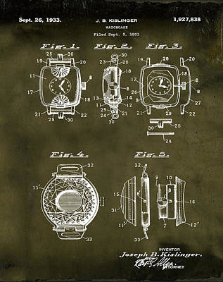 Sepia Chalk Drawing - J B Kislinger Watch Patent 1933 Grunge by Bill Cannon