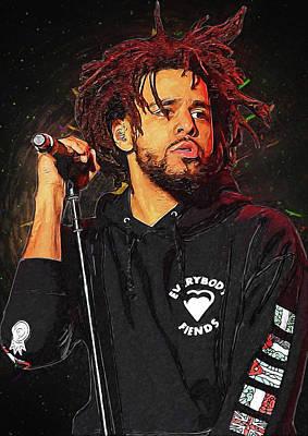 Rap Digital Art - J Cole by Semih Yurdabak