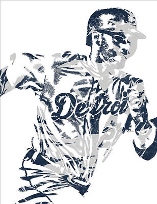Detroit Tigers Art Mixed Media - J D Martinez Detroit Tigers Pixel Art 2 by Joe Hamilton