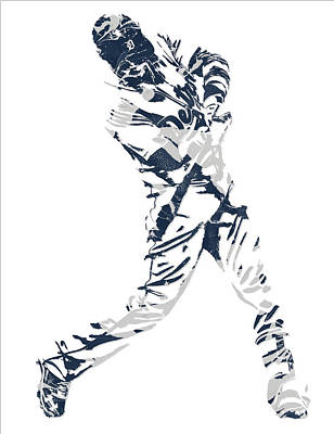 Detroit Tigers Art Mixed Media - J D Martinez Detroit Tigers Pixel Art 3 by Joe Hamilton