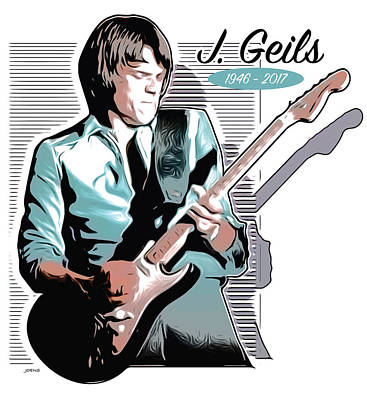 Tribute Drawing - J Geils by Greg Joens