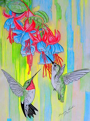 Flower Still Life Mixed Media - J-humming Bird by Dwayne  Hamilton