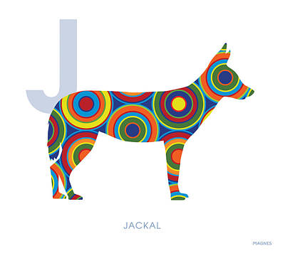 Dog Abstract Art Digital Art - J Is For Jackal by Ron Magnes