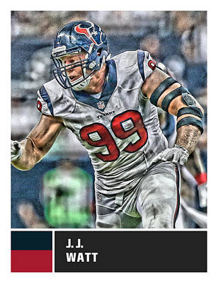 Mixed Media - J J Watt Houston Texans by Joe Hamilton