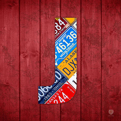 J License Plate Letter Art Red Background Art Print
