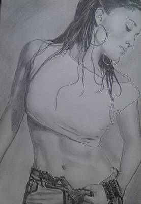 Women In The Workplace Drawing - J-lo by Malcolm King