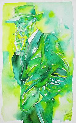 Painting - J. Robert Oppenheimer - Watercolor Portrait.4 by Fabrizio Cassetta