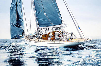 Painting - J5 Ranger J Class Yacht by Mark Woollacott