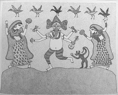 Indian Tribal Art Painting - Ja Raju 01 by Raju Jogi