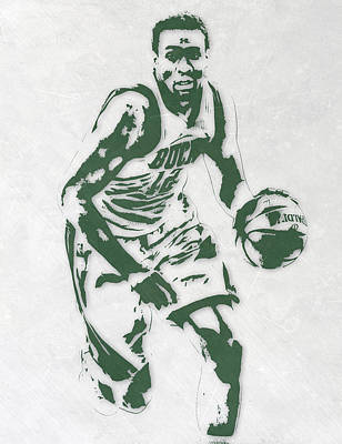 Jabari Parker Milwaukee Bucks Pixel Art 2 Print by Joe Hamilton