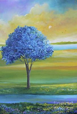 Puerto Rico Painting - Jacaranda Azul, Oil On Canvas 16x12x1.5in by Alicia Maury