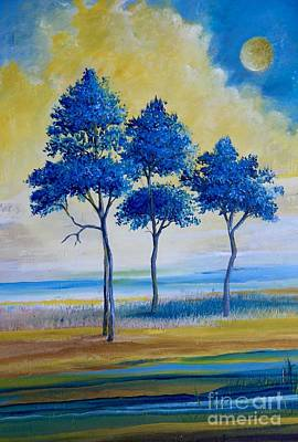 Jacaranda Tree Painting - Jacarandas In Front Of The Golden Clouds  by Alicia Maury