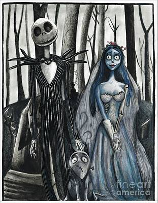 Nightmare Before Christmas Drawing - Jack And Corpse Bride by Tony Orcutt