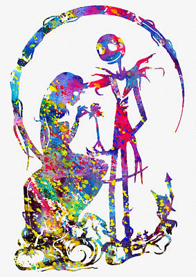 Nightmare Before Christmas Wall Art - Digital Art - Jack And Sally-colorful by Erzebet S