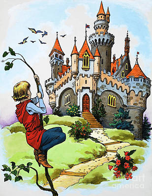 Jack And The Beanstalk Art Print by English School