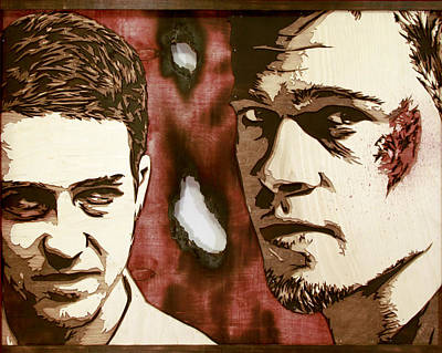 Shepard Fairey Painting - Jack And Tyler Wood Version by Bobby Zeik