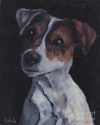 Dog Portrait Acrylic Painting - Jack Black by Robin Wiesneth