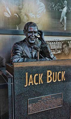 Photograph - Jack Buck Statue - Busch Stadium by Allen Beatty