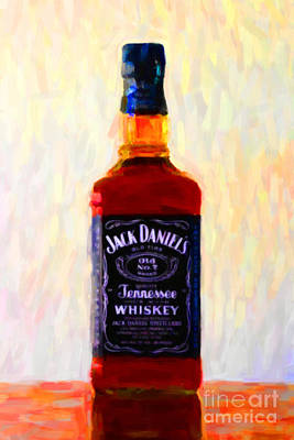 Digital Art - Jack Daniel's Tennessee Whiskey 80 Proof - Version 1 - Painterly by Wingsdomain Art and Photography