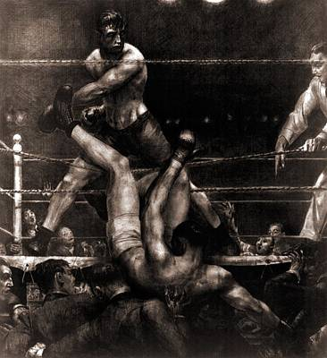 Jack Dempsey Knocked Out Of The Ring Art Print by Everett