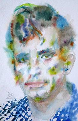 Jack Kerouac - Watercolor Portrait.4 Original by Fabrizio Cassetta