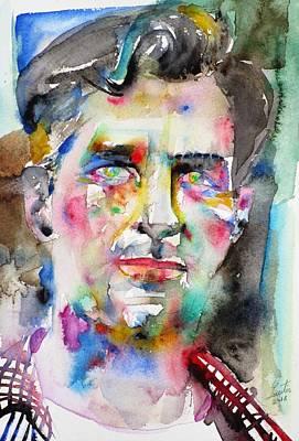 Painting - Jack Kerouac - Watercolor Portrait.6 by Fabrizio Cassetta