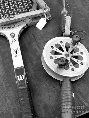 Jack Kramer Wood Racket And Ancient Rod And Reel Art Print by David Bearden