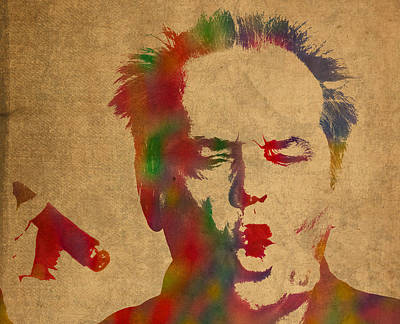 Jack Nicholson Mixed Media - Jack Nicholson Smoking A Cigar Blowing Smoke Ring Watercolor Portrait On Old Canvas by Design Turnpike