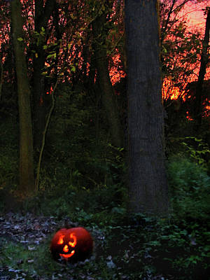 Mixed Media Royalty Free Images - Jack O Lantern in the Forest Royalty-Free Image by Steve Karol