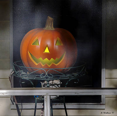 Mixed Media - Jack-o-lantern On Porch by Brian Wallace