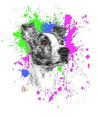 Digital Art - Jack Russell Mix @valentino.jr.thedog by ZileArt
