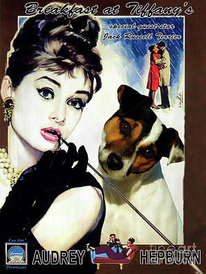 Painting - Jack Russell Terrier Art Canvas Print - Breakfast At Tiffany Movie Poster by Sandra Sij
