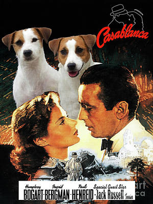 Painting - Jack Russell Terrier Art Canvas Print - Casablanca Movie Poster by Sandra Sij