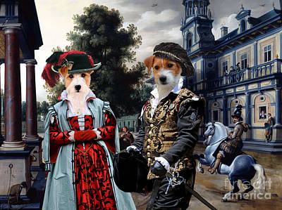 Painting - Jack Russell Terrier Art Canvas Print - -figures In A Palace Garden by Sandra Sij