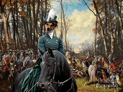 Painting - Jack Russell Terrier Art Canvas Print - The Noble Hunt Party by Sandra Sij
