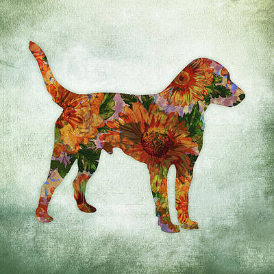 Jack Russell Terrier Floral On Green Art Print