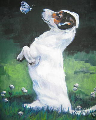 Jack Russell Terrier With Butterfly Art Print by Lee Ann Shepard