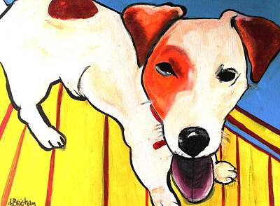 Art Print featuring the painting Jack Russell Terrior- Peanut by Laura  Grisham