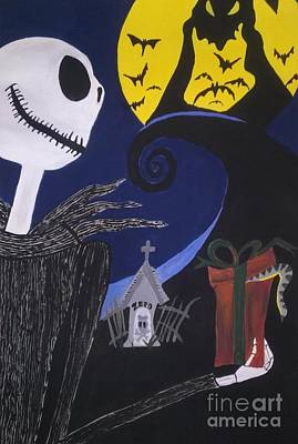 Nightmare Man Painting - Jack Skellington And Oogie Boogie by LKB Art and Photography
