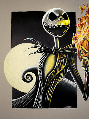 Drawing - Jack Skellington - The Pumpkin King by Thomas Volpe