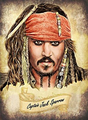 Sparrow Drawing - Jack Sparrow Colour 1 by Andrew Read