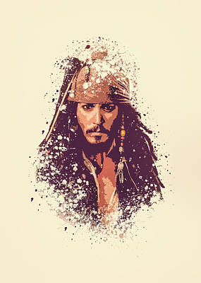 Pirates Of The Caribbean Painting - Jack Sparrow Splatter Painting by MP Art