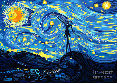 Painting - Jack Starry Night Abstract Art by Three second