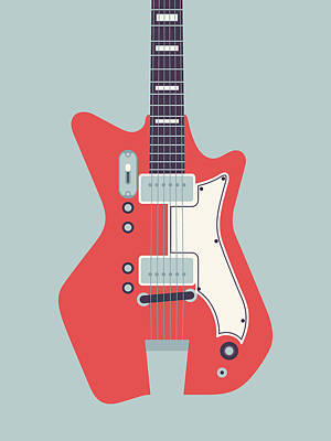 Airlines Digital Art - Jack White Jb Hutto Montgomery Ward Airline Guitar - Grey by Ivan Krpan