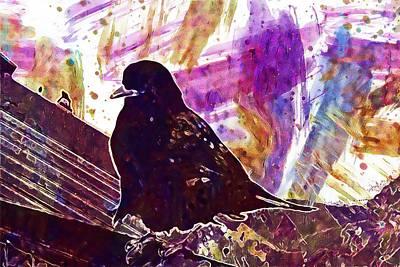 Digital Art - Jackdaw Bird Mountain Jackdaw  by PixBreak Art