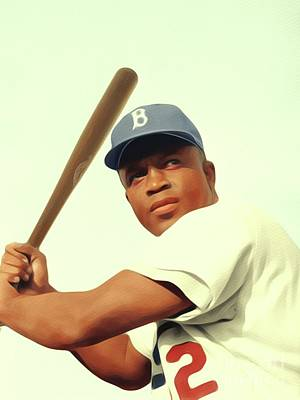 Baseball Royalty-Free and Rights-Managed Images - Jackie Robinson, Baseball Legend by Mary Bassett