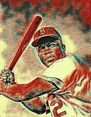 Baseball Players Mixed Media - Jackie Robinson Baseball Player by Pd
