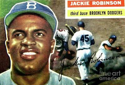 Jackie Robinson-brooklyn Dodger Art Print by Arnie Goldstein