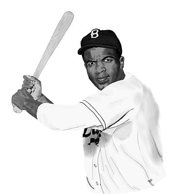 Drawing - Jackie Robinson by Lee McCormick