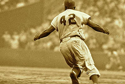 Jackie Robinson, Number 42, Brooklyn Dodgers Original by Thomas Pollart